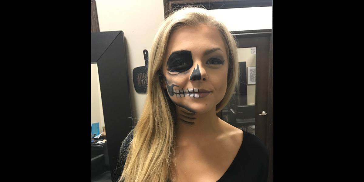 Kristy skull halloween makeup