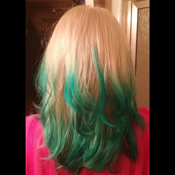 Angela's green hair color'